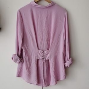 vince camuto pink button up blouse size L